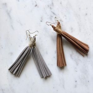 2 Pair Suede Leather Tassel Earrings